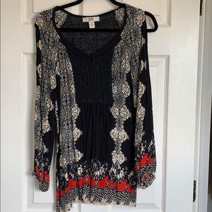 Colorful open shoulder blouse